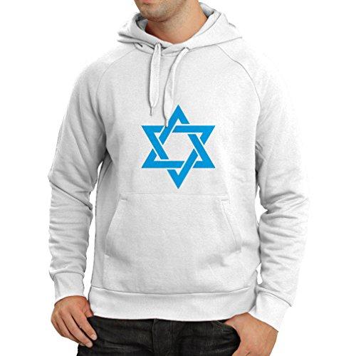 lepni.me Kapuzenpullover Davidsstern - Schild von Magen David - jüdisches Symbol (X-Large Weiß Blau)