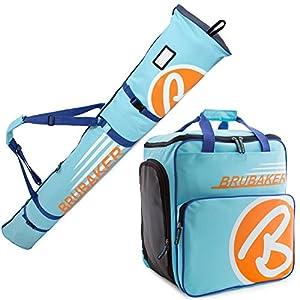 Brubaker Kombi Set Champion – Limited Edition – Skisack und Skischuhtasche für 1 Paar Ski 170 cm oder 190 cm + Stöcke + Schuhe + Helm Hellblau Orange