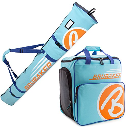 1 Kombi-set (BRUBAKER Kombi Set CHAMPION - Limited Edition - Skisack und Skischuhtasche für 1 Paar Ski bis 170 cm + Stöcke + Schuhe + Helm Hellblau Orange)
