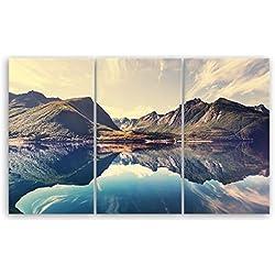 ge Bildet® hochwertiges Leinwandbild XXL Naturbilder Landschaftsbilder - Norwegische Berglandschaft - Norwegen Bild Natur Berg See - 165 x 100 cm mehrteilig (3 teilig) 2212 L