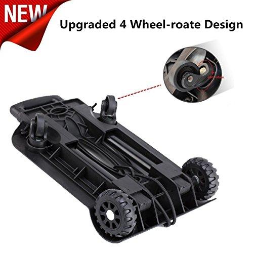 Imagen de carretilla de mano plegable, royi carritos de transporte con 4 ruedas carga máxima 75 kg/165 lbs  después de plegar se puede poner en la   ruedas delanteras con rotación de 360 ° negro alternativa