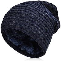 Vbiger Gorro de Punto para Invierno Boina para Hombre (Azul marinoo)
