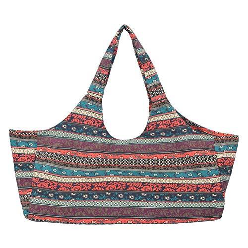 Ridecyle Yoga-Tasche, große Kapazität böhmischen ethnischen Print Canvas Yoga-Tasche mit multifunktionellen Aufbewahrungstaschen