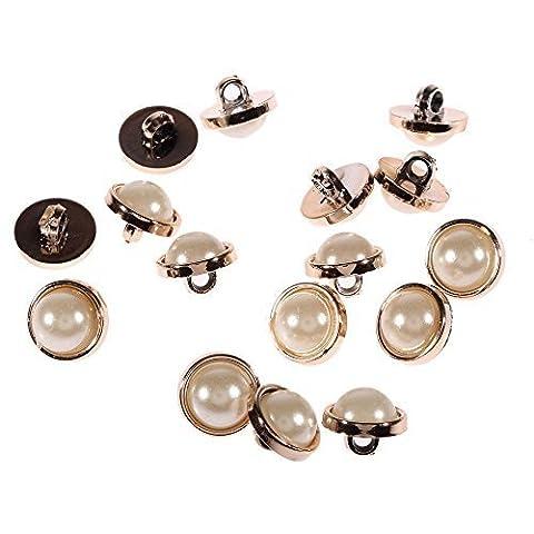 APB01 Acrylique Perles Boutons Or Clair Jante Rond à coudre perles Fabrication De Robes - 13mm