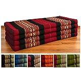 Asia Wohnstudio Klappmatratze extrabreit (195cm x 110cm) aus Kapok, faltbare Gästematratze, klappbare Matratze, asiatische Faltmatratze (rot/Elefanten)