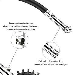 Manometro per pneumatici, Tacklife TPS02L 60PSI, accurato, resistente, per pressione dell'aria, tubo flessibile in gomma e valvola, per auto, moto, camion, SUV, camper, fuoristrada, bici