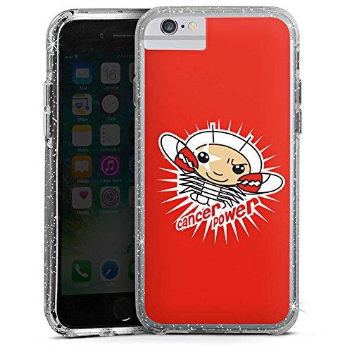 Apple iPhone 6s Plus Bumper Hülle Bumper Case Glitzer Hülle Krebs Sterne Stars Bumper Case Glitzer silber