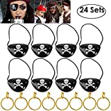 Unomor Piraten Augenklappen mit Ohrring als Halloween Party Accessoires, 24 Sets in Einem Pack