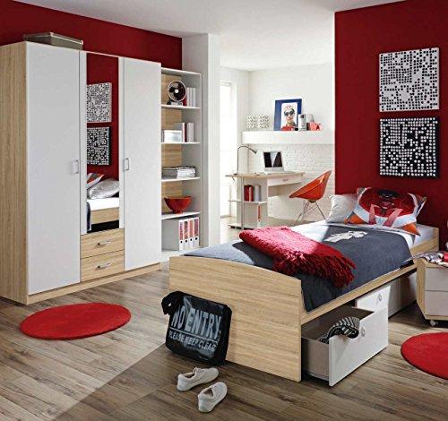 4 Teiliges Schreibtisch-set (Jugendzimmer, Kinderzimmer, Komplett-Set, Jugendmöbel, 4-teilig, Sonoma Eiche NB, alpinweiß, Umbauliege, Kleiderschrank, Schreibtisch, Regalelement)