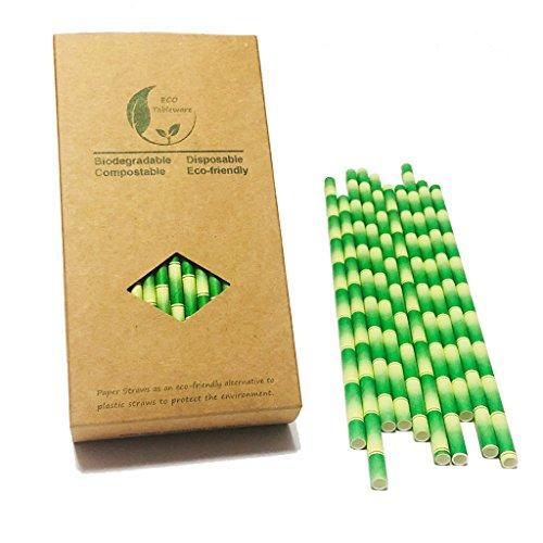 Pajitas biodegradables de bambú verde de 19,05 cm, 100 cajas de papel kraft, no plástico