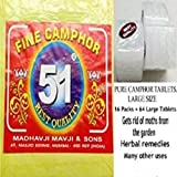 Pure Camphor 51 Brand Best Quality (16 Pkts = 64 Large Tablets)