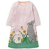 OHBABYKA Little Girls Cute Casual Baumwolle Tiere Gedruckt Streifen Langarm Playwear Kleid (Mouse, 4T)