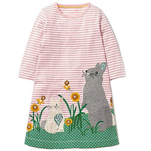 OHBABYKA Little Girls Cute Casual Baumwolle Tiere gedruckt Streifen Langarm Playwear Kleid (Mouse, 5T)