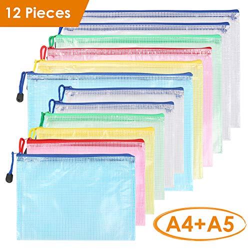 Kasimir Dokumententasche A5 6 Stück + A4 6 Stück Sammelmappe din A5 und A4 Kunststoff Reißverschlusstasche Set wasserdicht Mesh Bags