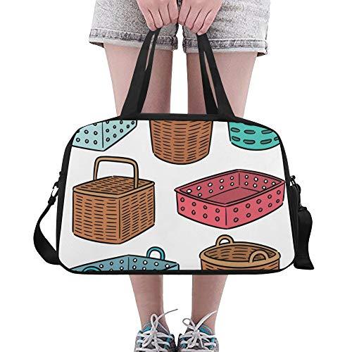 Korb Einfache Bunte Cartoon Muster große Yoga Gym Totes Fitness Handtaschen Reise Seesäcke Schultergurt Schuhbeutel für Übung Sport Gepäck für Mädchen Männer Womens Outdoor -