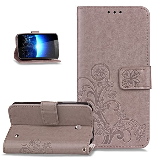 Nokia Lumia 635 Hülle,Nokia Lumia 630 Hülle,ikasus Prägung Klee Blumen Muster PU Lederhülle Flip Hülle Cover Schale Ständer Wallet Case Schutzhülle für Nokia Lumia 630/635,Klee Blumen:Grau