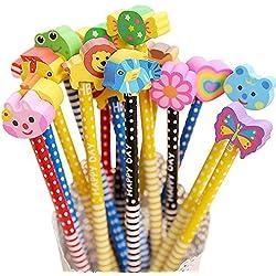 Set de lápices HB con borradores de animales TILY para niños, regalo para escribir, recuerdo de la fiesta, material escolar, 12unidades (colores al azar)