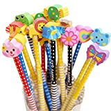 HB Pencil Sets Avec Cute Cartoon Animal Eraser Pour Enfants Kids Writing Gift Party Favors, School Supplies Children Gift, 12 pièces (livraison couleur au hasard)