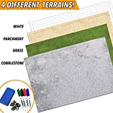 RPG Battle Game Mat - 2 Pack Dry Erase Double sided 36' x 24' (4 Terrains) + 4 Dry Erase Markers + 1 Eraser + 7pc Polyhedral Dice Set - Large Table Top Role Playing Map for Starters and Masters