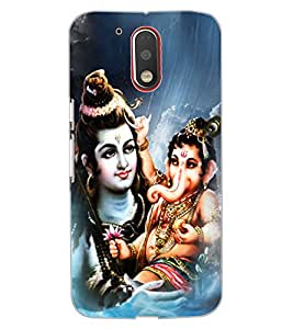 ColourCraft Lord Shiva With Ganesha Design Back Case Cover for MOTOROLA MOTO G4