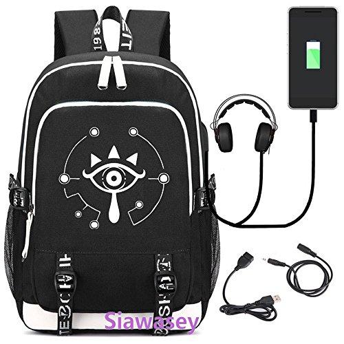 Siawasey Japanische Anime Cosplay Luminous Rucksack Daypack Schultasche Laptop Schule Tasche mit USB-Ladeanschluss The Legend of Zelda 2