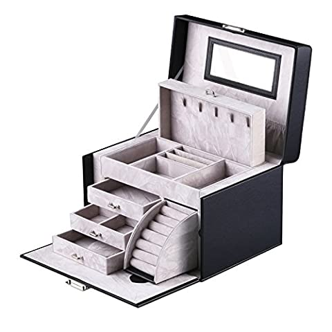 Kealive Boîte à Bijoux,Multi-étages avec Serrure et Miroir Coffret de