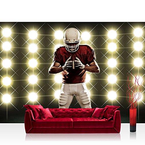 Fototapete 254x184 cm PREMIUM Wand Foto Tapete Wand Bild Papiertapete - Sport Tapete Lichter Flutlicht Football American Football Helm schwarz - no. 2468