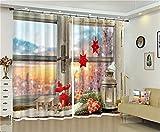 FaceToWind Vorhang Fenster Vorhang Frohe Weihnachten 3D Druck Kreative Weihnachten Fotos Hohe präzision Schatten Vorhang für Wohnzimmer Luxus Vorhänge W250cmxH240cm