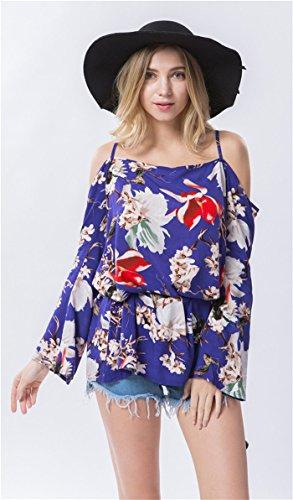 Dioufond Sexy Femme Blouse Tunique Epaules Nues à Bretelles Manches Longues Loose Shirt Tops blue