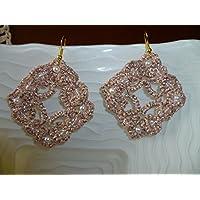 Orecchini chiacchierino colore rosa e oro con Swarovski rosa