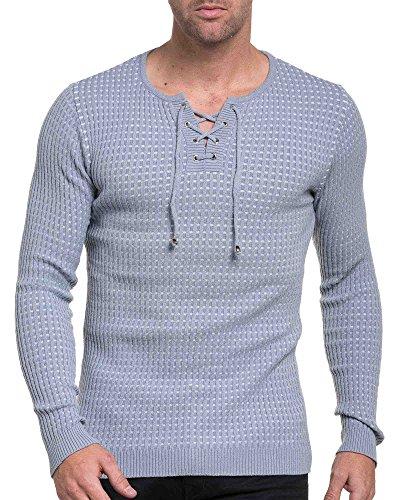 BLZ jeans - Pull homme gris et blanc côtelé avec col cordon Gris