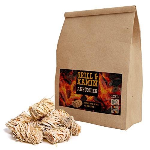 51Nh42EAMDL - 10 kg Kamin-Anzünder und Grill-Anzünder (Ofen-anzünder, Anzündwolle, Anzündhilfe) aus Bio Holz-Wolle und Wachs - schnell und umweltfreundlich