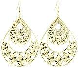 2LIVEfor Große Statement Ohrringe Silber Gold Tropfen Ohrringe lang Hängend Groß Blatt Ohrringe Bohemian Vintage sehr gross Halbmond Design Ornamente Blumen (Gold)