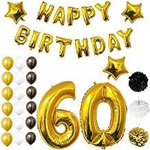 Globos Cumpleaños Happy Birthday #60, Suministros y Decoración por Belle Vous - Set 26 Piezas - Globo Grande Aluminio de 30,5cm 60 Años - Globos de Látex Dorado, Blanco y Negro - Para Adultos