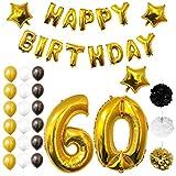 Globos Cumpleaños Happy Birthday,Suministros y Decoración por Belle Vous - Set 26 Piezas - Globo Grande Aluminio de 30,5cm - Globos de Látex Dorado, Blanco y Negro - Para Adultos (Age 60)