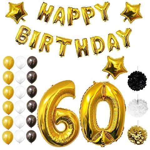 60. Geburtstag Luftballons Happy Birthday Folienballons Party Zubehör Set & Dekorationen von Belle Vous - Folienballons für den 60. Geburtstag - Gold, weiß & schwarz Latex-Ballon-Dekoration - Dekor für alle Erwachsenen geeignet