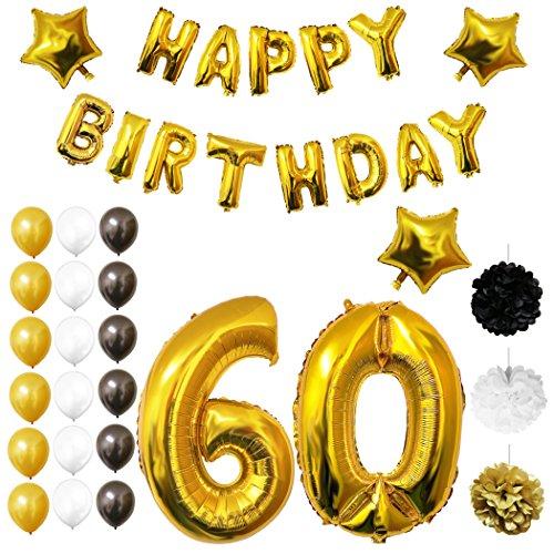 Preisvergleich Produktbild 60. Geburtstag Luftballons Happy Birthday Folienballons Party Zubehör Set & Dekorationen von Belle Vous - Folienballons für den 60. Geburtstag - Gold, weiß & schwarz Latex-Ballon-Dekoration - Dekor für alle Erwachsenen geeignet