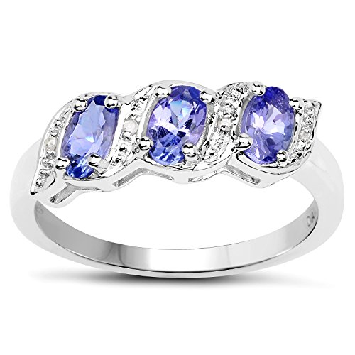 Die Diamond-Ring-Collection: Sterling Silber echter Tansanit und Ewigkeit Verlobungsring, Ringgröße 58 (Tansanit Ring Sterling Silber)