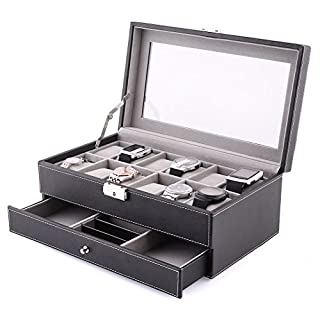 Amzdeal Watch Jewelry Box 2 Layers 12 Grids Leather Watch Storage Display Case with Compartments for Cufflink,Rings, pins, Chains Lockable