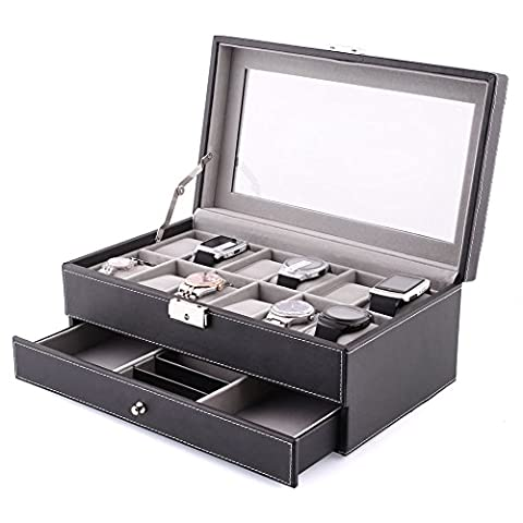 Amzdeal Double Layers 12 Grids Watch Box Jewelry Display Case Leather Lockable Tray Organizer, Black