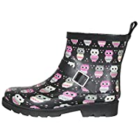 Capelli New York Ladies Shiny Happy Owls Printed Short Sporty Lined Rainboot Black Combo 7