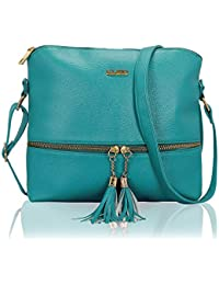 KLEIO Stylish Lightweight Tassel PU Leather Cross Body Side Sling Handbag  Purse For Women Girls Ladies bbb332c939e72