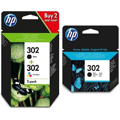 HP 302 Multipack Original Druckerpatronen (Schwarz, Farbe) mit zusätzlicher HP 302 Schwarz Original Druckerpatrone