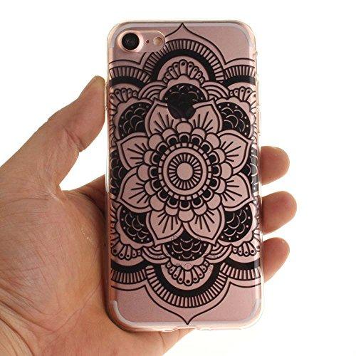 """Coque Case pour Apple iPhone 7 4.7"""" Délicat Dessin Mandala Noir Ultra Fine Transparente Souple TPU Gel Couleur2"""