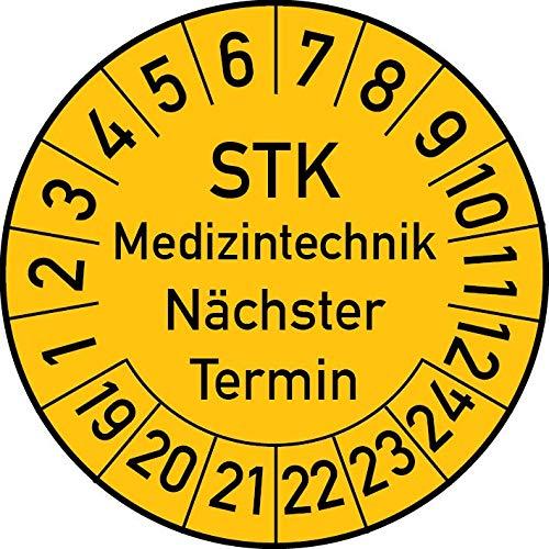 STK Medizintechnik Nächster Termin Prüfplakette, 100 Stück, in verschiedenen Farben und Größen, Prüfetikett Prüfsiegel Plakette STK Prüfung (20 mm Ø, Gelb)