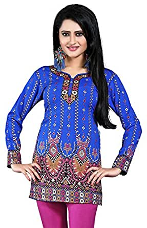 Women's Indian Kurti Top Tunic Printed Blouse India Clothes (Blue, S)