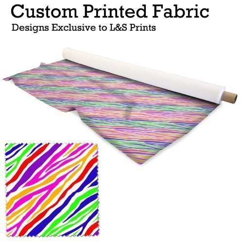 L&S PRINTS FOAM DESIGNS Rainbow Farbe Zebra Animal Print Design Digital Print Lycra 2 Wege Stretch Polyester bedruckter Stoff 149,9 cm Breite hergestellt in Yorkshire (Lycra Animal Kostüm)