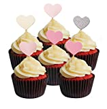 Cupcakes 30 pcs/lot, Twinkle DIY Paillettes Mini Décorations de gâteau d'anniversaire Snack Picks fournisseurs Accessoires de fête pour mariage Baby Shower (DE 30 Couvre-sièges de cœur rose pour gâteaux)