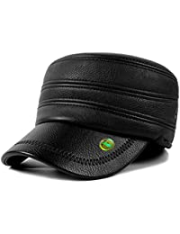 LOCOMO Men PU Leather Black Folding Ear Flap Warmer Flat Cap FFH304