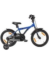 """Bicicleta para niños 16 pulgadas (16"""") PROMETHEUS® bicicleta para niños - color azul y negro con freno de contrapedal, incluye ruedas de apoyo (aluminio) para sentirse seguro manejando y no tener preocupaciones, apartir de 5 años   Edición BMX"""